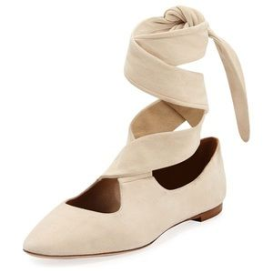 THE ROW Elodie Lace-Up Ballet Flats, Neutral